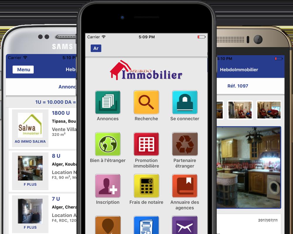 Illustration de l'application mobile Hebdo Immobilier