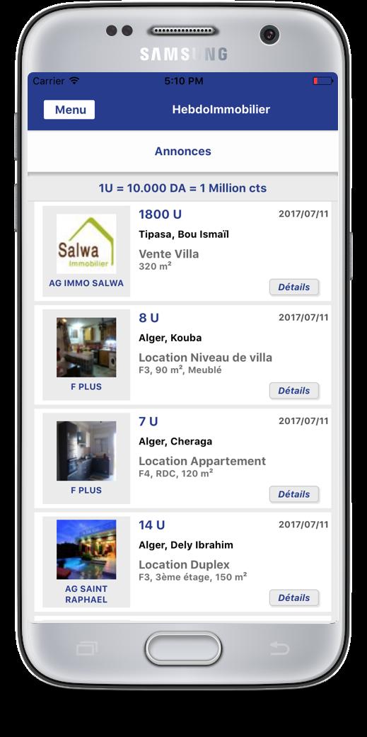 Illustration de l'application mobile Hebdo Immobilier en détails