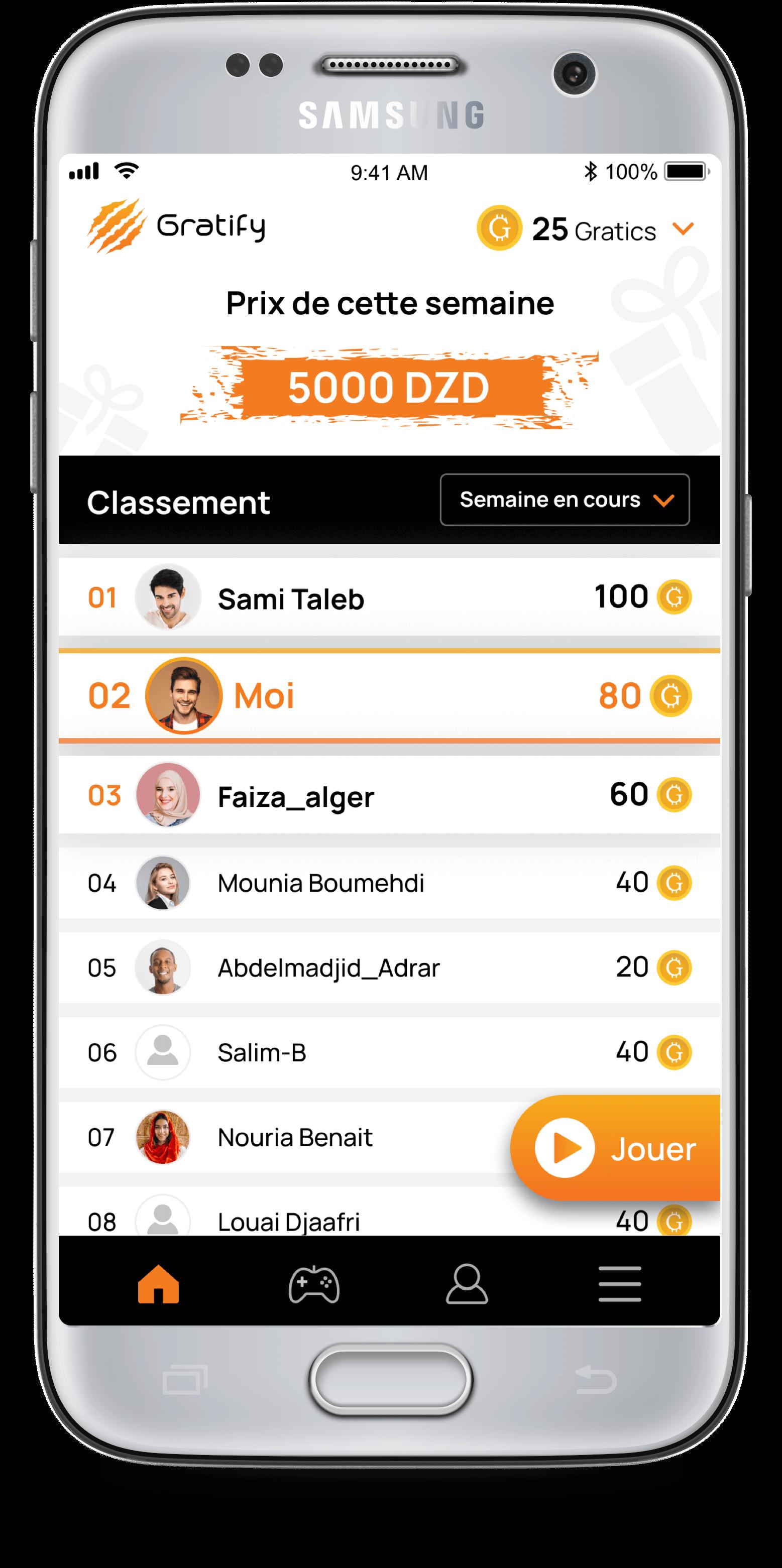 Screenshot de l'application mobile Gratify